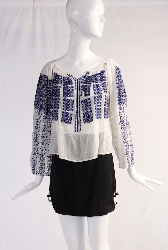 Vintage 1930s Embroidered Blouse with Sequins