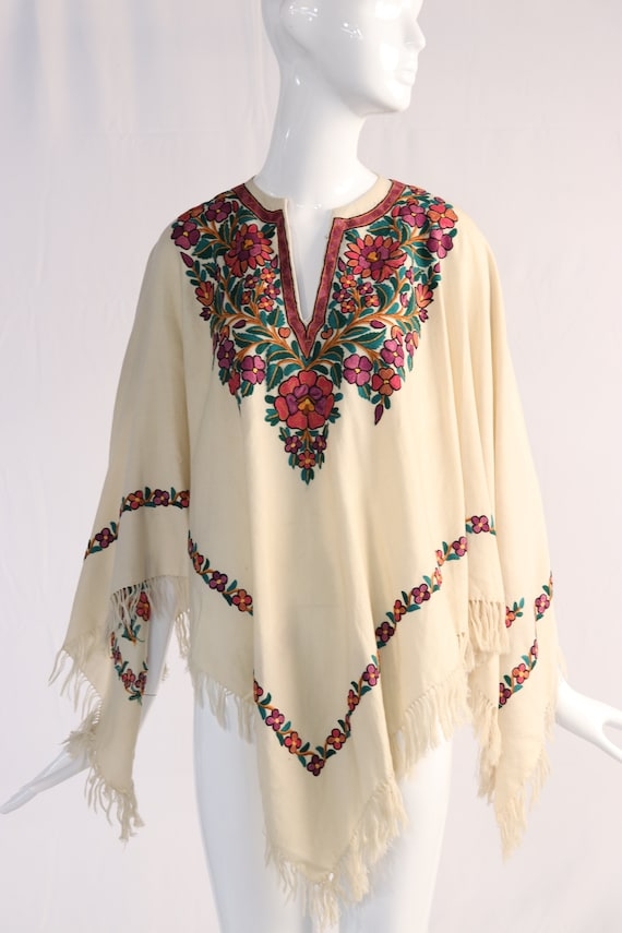 Vintage 1970s Colorful Floral Embroidered Wool Pon