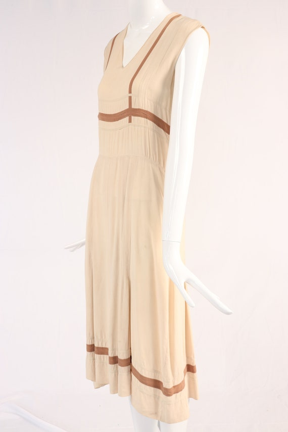 Vintage 1940s Cream and Brown Dress