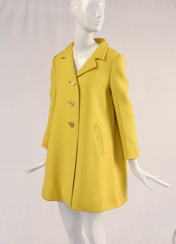 Authentic Vintage 1960s Yellow Wool Coat