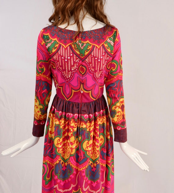 Vintage 1970s Lucie Ann Psychedelic Maxi Blouse, … - image 2