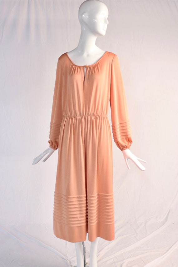 Authentic 1970s Vintage Pink Long Sleeve Maxi Dres