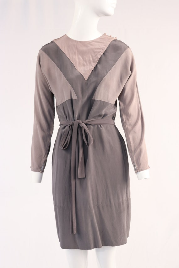 1980s Grey Silk Sheath Dress