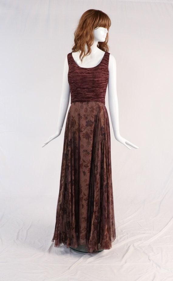 Vintage 1980s Mary McFadden Pleated Floral Dress,