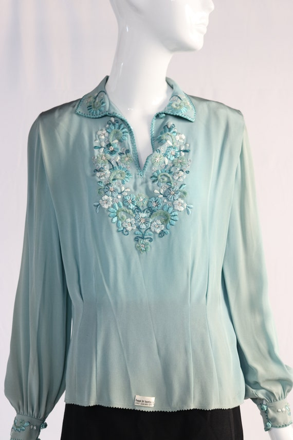 Vintage 1940s Teal Embellished Blouse