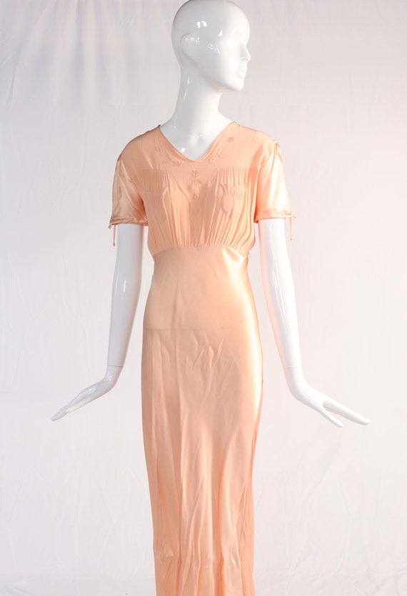 1930s Satin and Crepe Pink Slip Dress