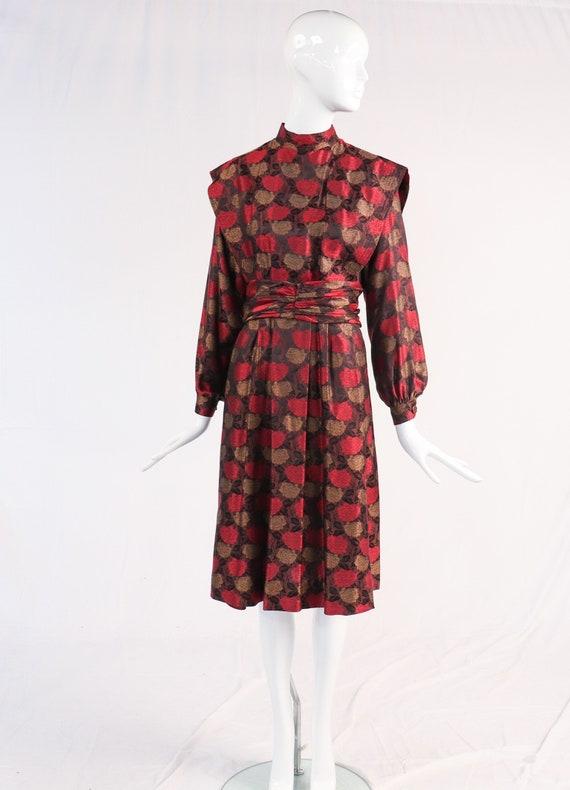 large L Vintage 1980s Dress  80s Albert Nipon Pleated Satin Dress  Burgundy Red