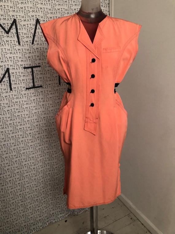 1980s Salmon Pink Sheath Dress with Cutouts