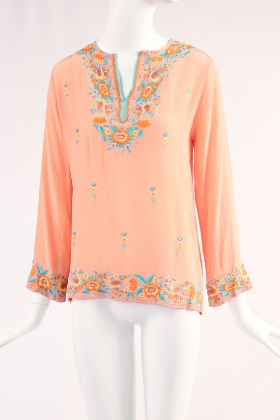 Salmon Embroidered Top