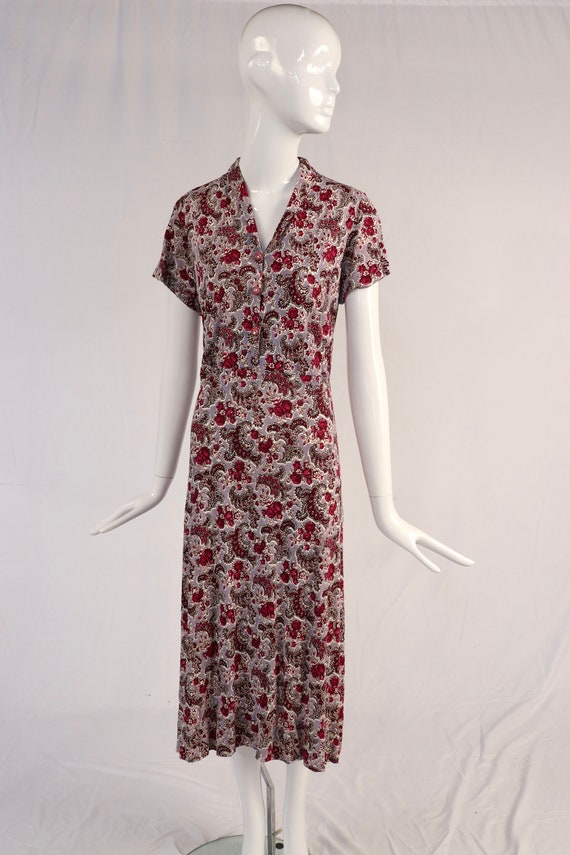 Authentic 1940s Floral Vintage Dress, Pink and Pur