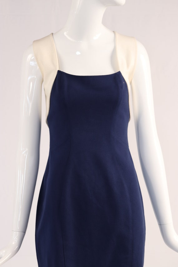 Thierry Mugler Cream and Navy Dress