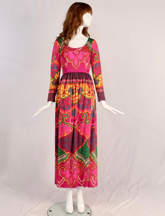 Vintage 1970s Lucie Ann Psychedelic Maxi Blouse, … - image 3