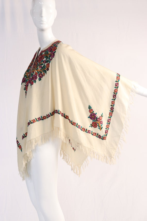 Vintage 1970s Colorful Floral Embroidered Wool Po… - image 2
