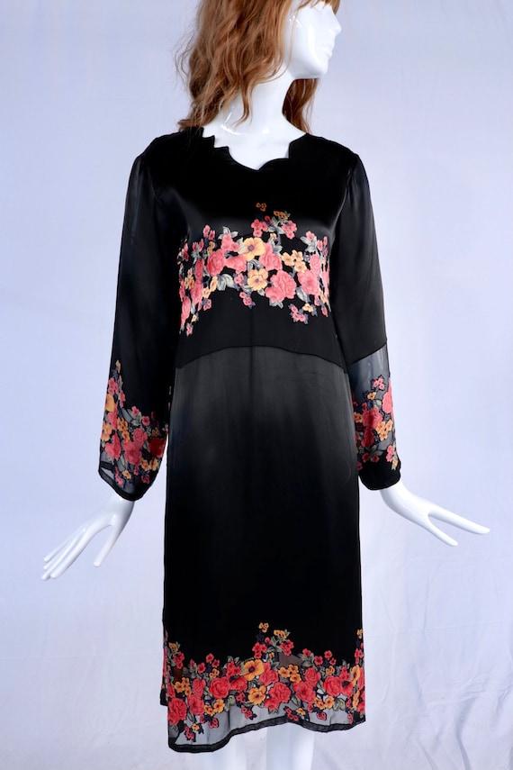 Vintage 1920s Burnout Floral Tunic, Black 1920s Tu