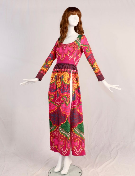 Vintage 1970s Lucie Ann Psychedelic Maxi Blouse, … - image 1