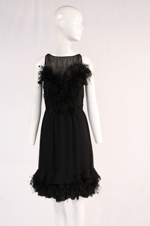 Vintage 1960s Black Feather Mini Dress