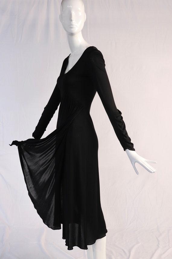 Vintage 1970s Black Jersey Draped Front Maxi Dress