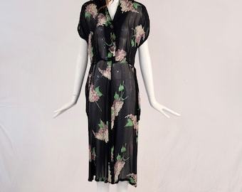 Vintage 1930s Sheer Dress, Authentic 1930s Floral Sheer Dress, Rare 1930s Vintage Floral Short Sleeve Dress