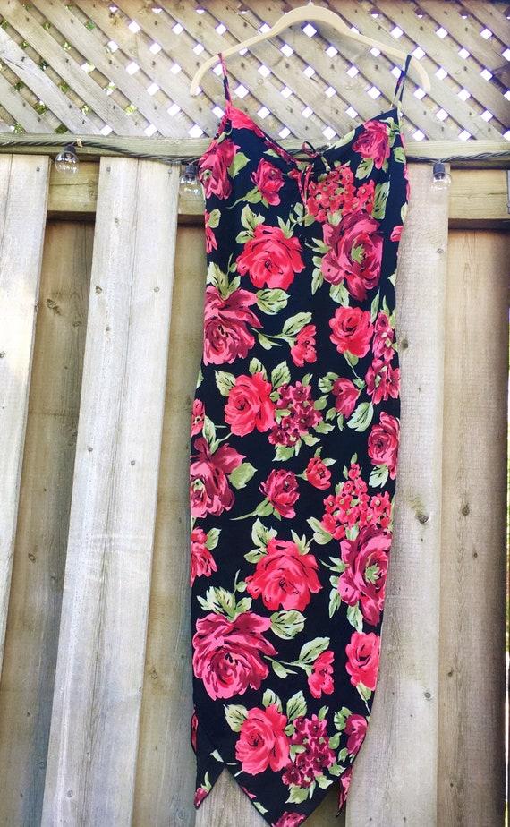 Vintage Rose Printed Full Length Dress