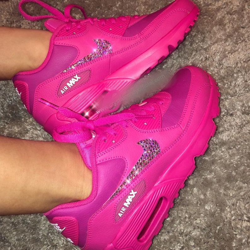 Crystallized Bling Swarovski Nike Air Max 90 Youth Women Made with Swarovski Crystals Hot Pink