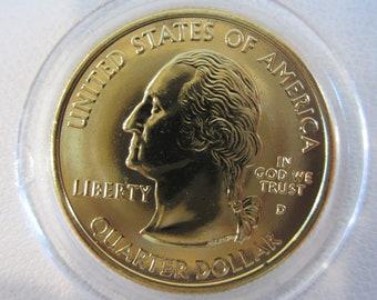 2000 Birthday 24kt Gold Plated Massachusetts State Quarter Home State