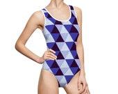 Navy Blue Geometric Triangle - Women 39 s Classic One-Piece Swimsuit