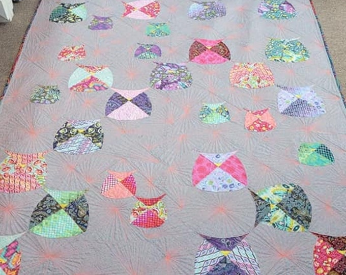 Mod Owl quilt using Eden fabric line from Tula Pink