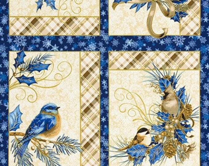 """Robert Kaufman, Winter's Grandeur 8 Bird Panel 24"""" x 42"""""""
