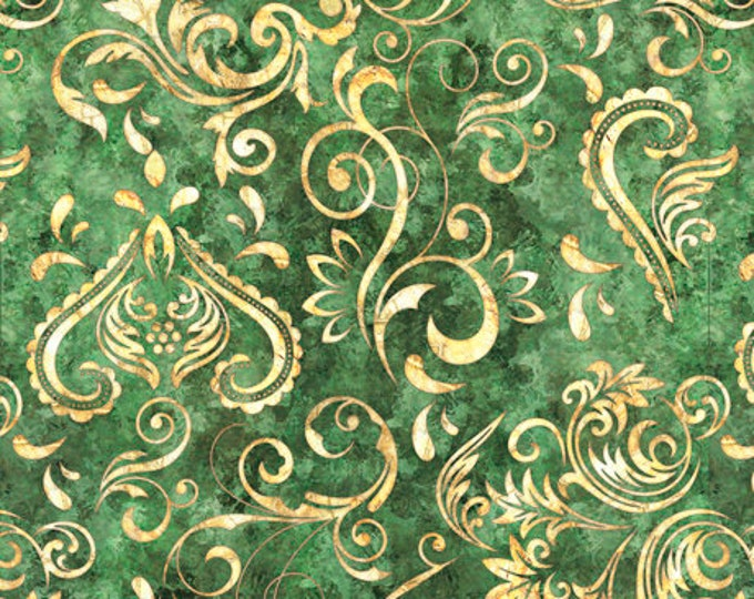 Green/Gold UNBRIDLED SCROLL All Over Print