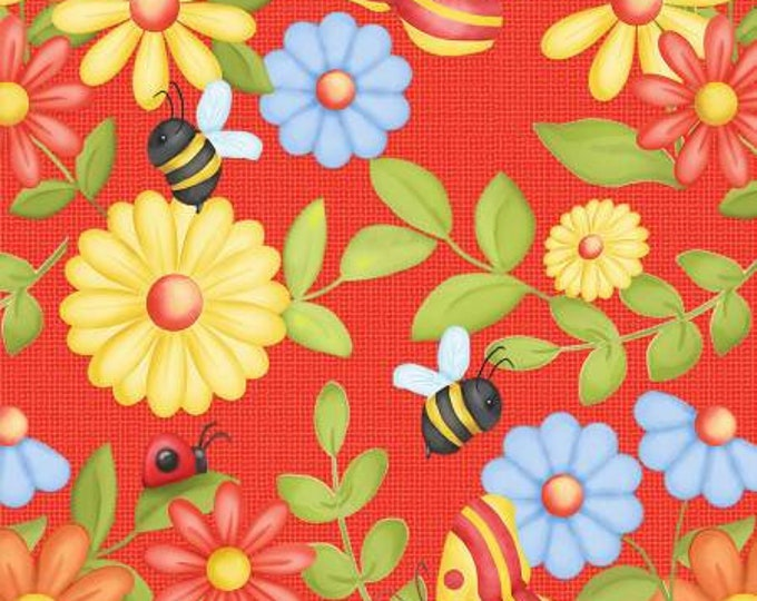 HG, RED Gnome Flowers, Bees and Butterfly's