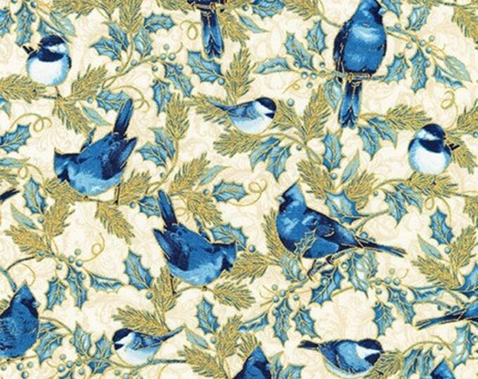 Robert Kaufman, Winter's Grandeur Blue Jay/Blue Bird all over fabric