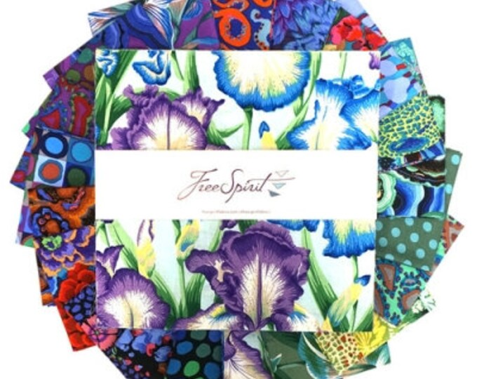 """Free Spirit, KAFFE FASSETT - August 2020 Cold Colorway 10"""" squares"""