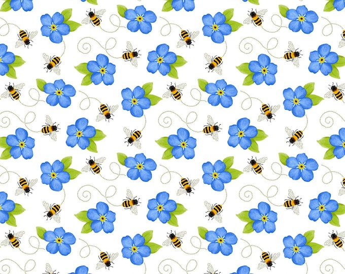 HG, Small Blue Flower with Bees, Sunny Sunflowers