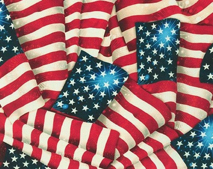 """108"""" Extra Wide Quilt Backing, Patriot's Flags"""