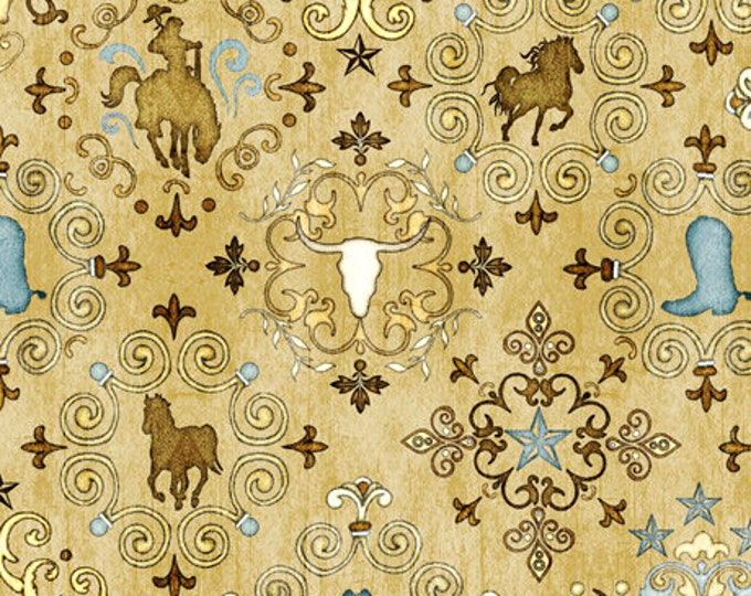 TAN UNBRIDLED Horse/Scull/Boot Medallion all over print