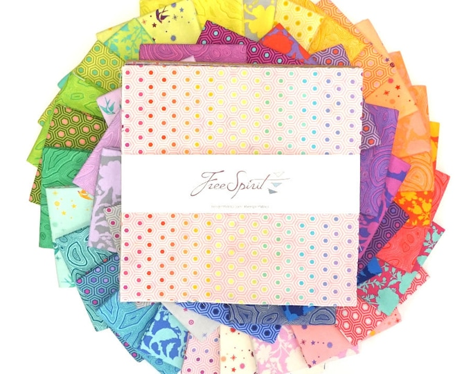 """Free Spirit, TRUE COLORS - TULA Pink - Charm Pack 42 - 10"""" squares"""