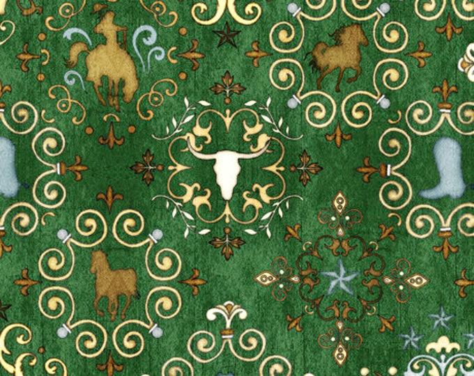 GREEN UNBRIDLED Horse/Scull/Boot Medallion all over print