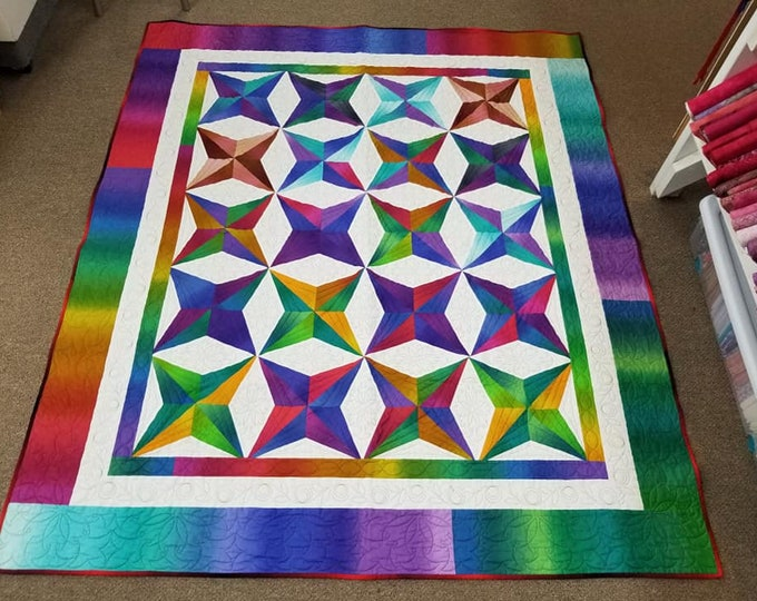 Ombre Star Finished Quilt 66 x 79