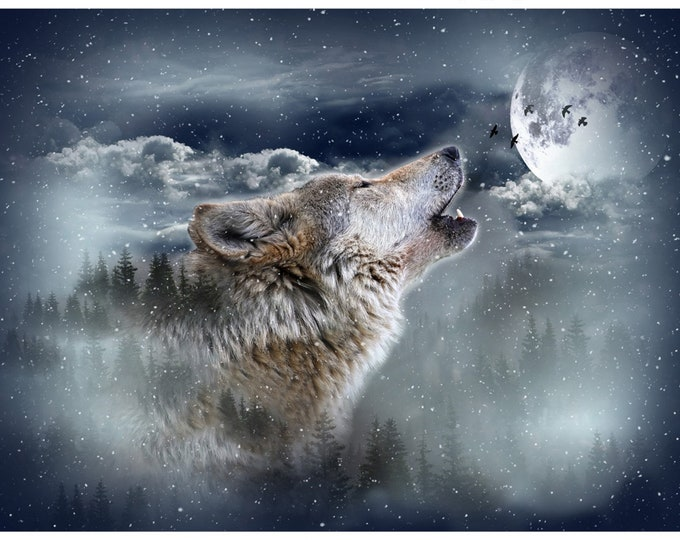 Moonstruck Call of the Wild Wolf Panel 32in x 43-1/2in