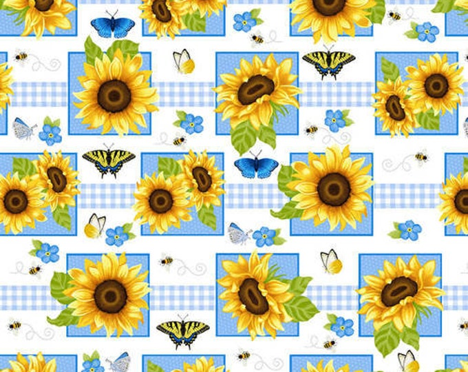 HG, white square sunflower and butterfly's , Sunny Sunflowers