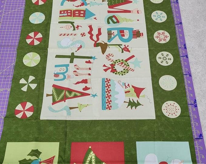 "Moda, Very Merry Christmas Panel  24"" x 36"" Cotton"
