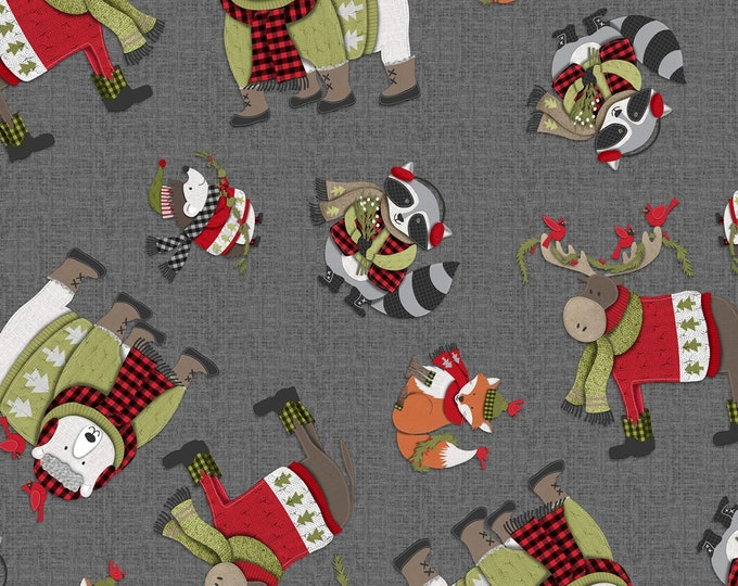 COZY CRITTERS, all over animals tossed - grey