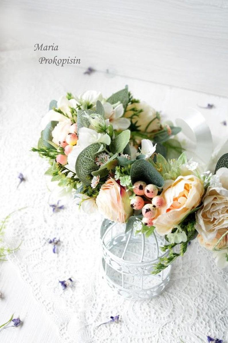 White blush greenery eucalyptus flower crown Woodland wedding Floral hair wreath Bridal headpiece Flower halo