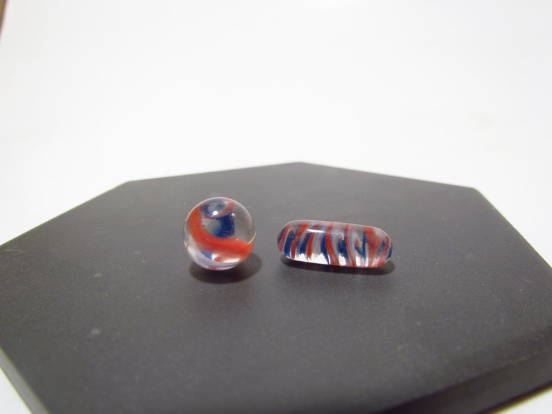 dab banger bead cats eye borosilicate glass sculpture Red White and Blue Terp slurper pill 18mm /& terp pearl valve marble 11mm