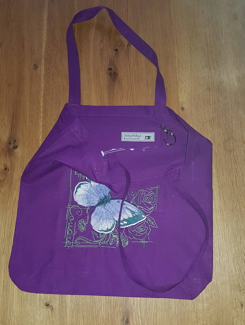 purple Cotton bag with machine embroidery unique!! delicate butterfly