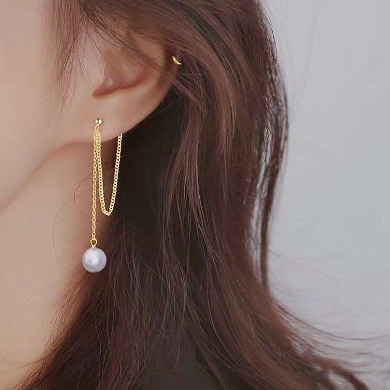 Korean gold plated stainless steel chains 8mm crystal pearls studs earrings