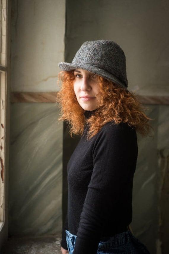 Vintage gray fedora hat for women, Wool brim hat i