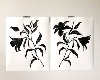 Black Flowers Set of 2   Watercolor painting