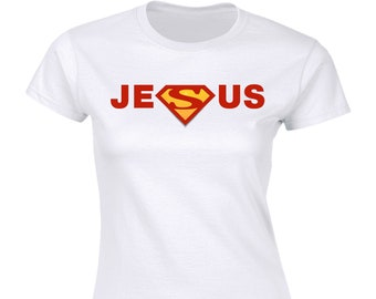 0b6b5d32 Jesus T-Shirt   Jesus Shirt   Superman   Faith   Christian Shirt   Women    Jesus Tee   Ladies   Gift for Her   Graphic Tee   Religious Shirt