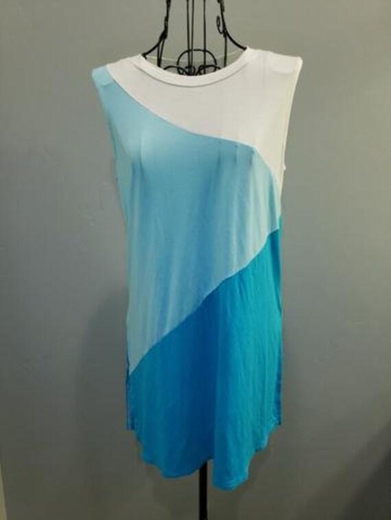 Blue Color Block Sleeveless Tunic